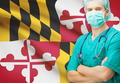 Surgeon with US state flag on background series - Maryland - PhotoDune Item for Sale