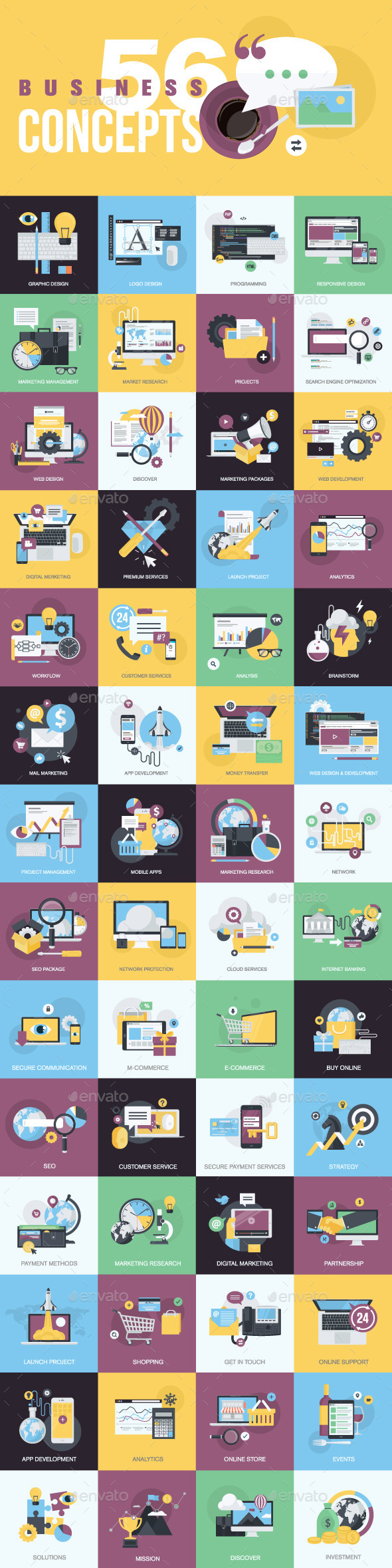 GraphicRiver Set of Flat Design Style Concept Icons 11203644