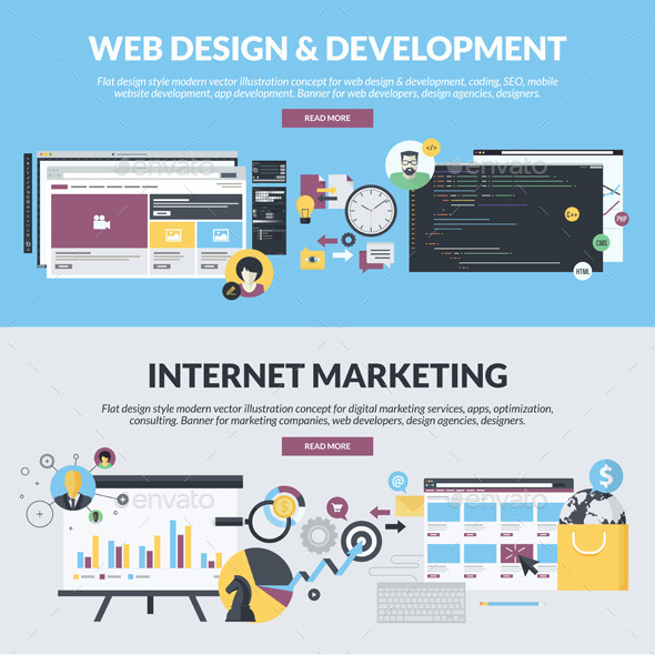 GraphicRiver Flat Banners for Web Development and Marketing 11203770
