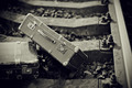 Not the color image of two suitcases on railway rails.  - PhotoDune Item for Sale