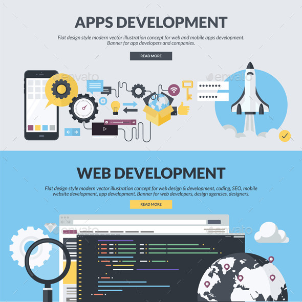 GraphicRiver Flat Design Banners for App and Web Development 11204067