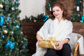 Beautiful woman posing with gift box - PhotoDune Item for Sale