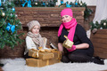 Woman and girl in winter hats and scarfs - PhotoDune Item for Sale