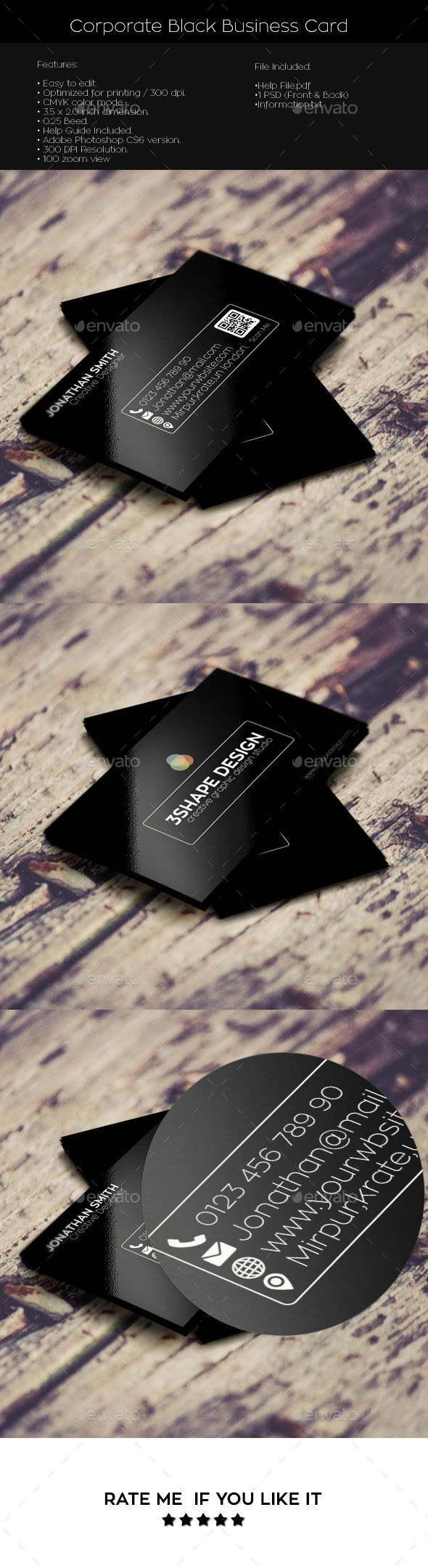 GraphicRiver Corporate Black Simple Creative Business Card 11204551