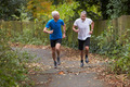 Two Mature Male Joggers Running Along Path - PhotoDune Item for Sale