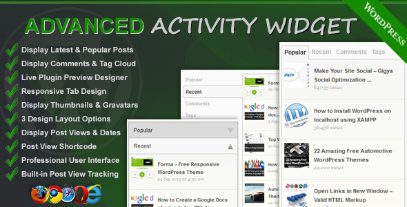 Advanced Activity Widget - CodeCanyon Item for Sale