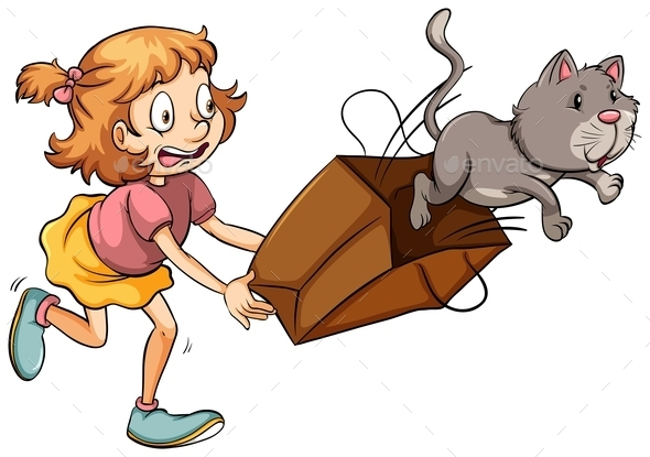 GraphicRiver Young Girl Chasing the Cat 11206256