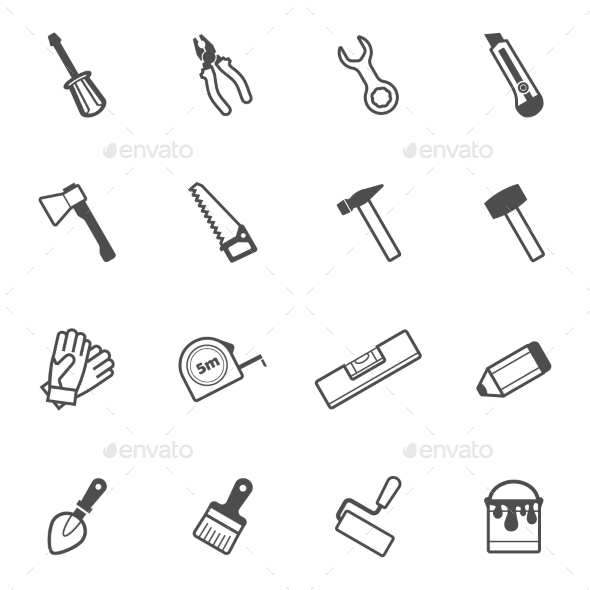 GraphicRiver Construction and Repair Tool Icon Set 11206297