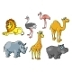 Cartoon African Wild Animals and Birds Characters - GraphicRiver Item for Sale