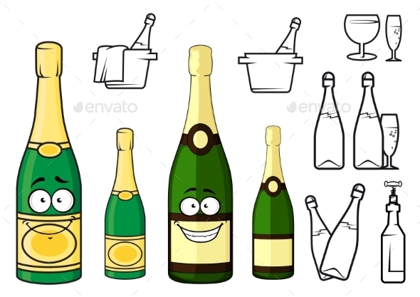 GraphicRiver Champagne Bottles Cartoon Characters and Icons 11206743
