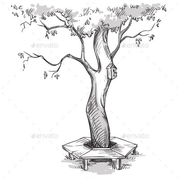 GraphicRiver Garden Tree with a Wooden Bench Around It 11206772