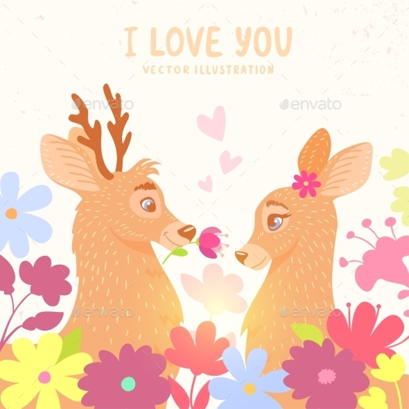 GraphicRiver Romantic Deers 11206797