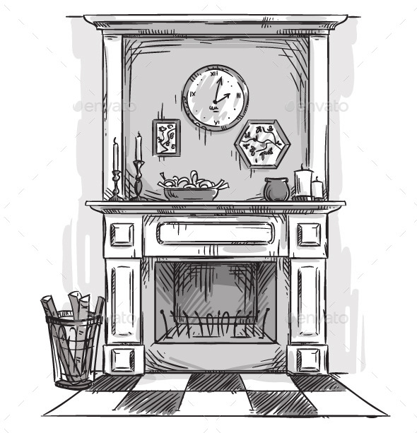 GraphicRiver Hand Drawn Fireplace 11206868