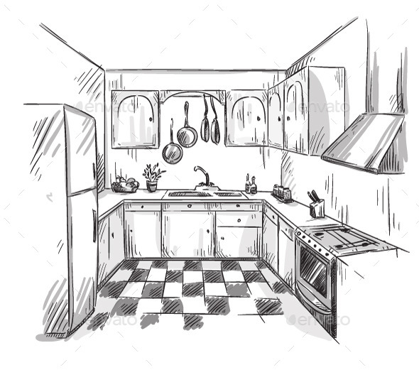 GraphicRiver Kitchen Interior Drawing 11206886