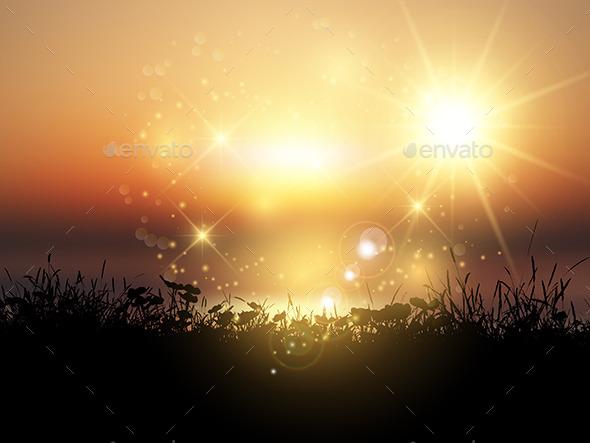 GraphicRiver Sunset Grassy Landscape 11207786