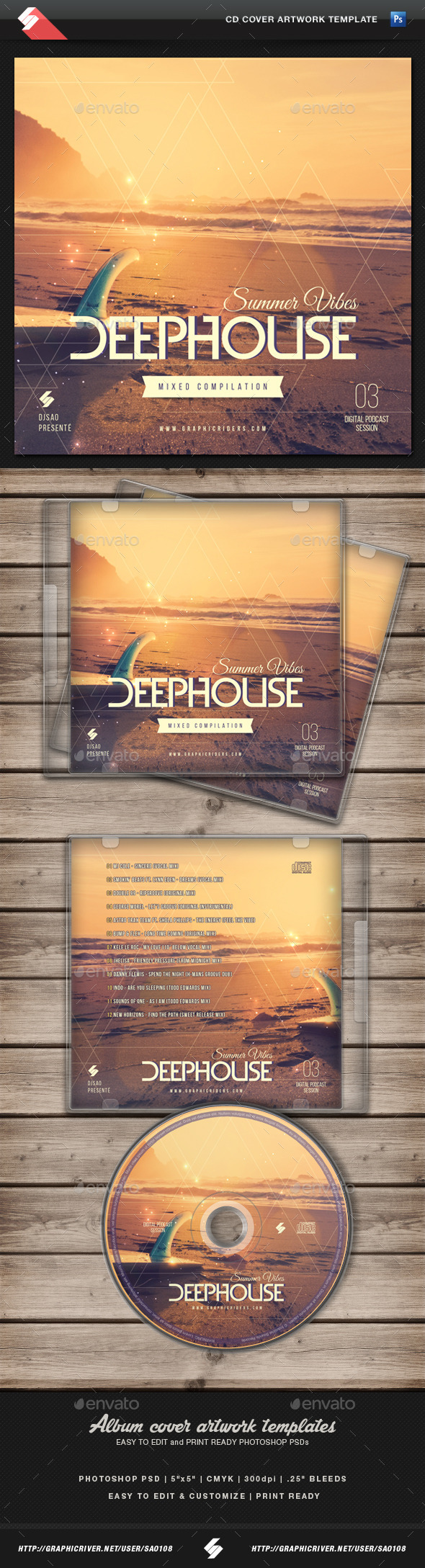GraphicRiver Summer Vibes 3 House Music CD Cover Template 11208579