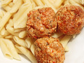 Three meatballs with sauce over pasta - PhotoDune Item for Sale