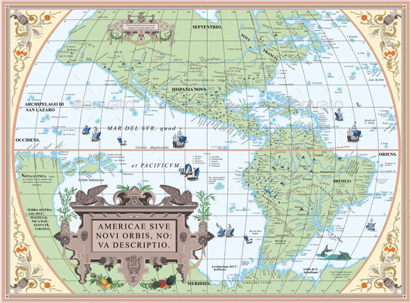 GraphicRiver Vintage Old Map of South and North America 11209120