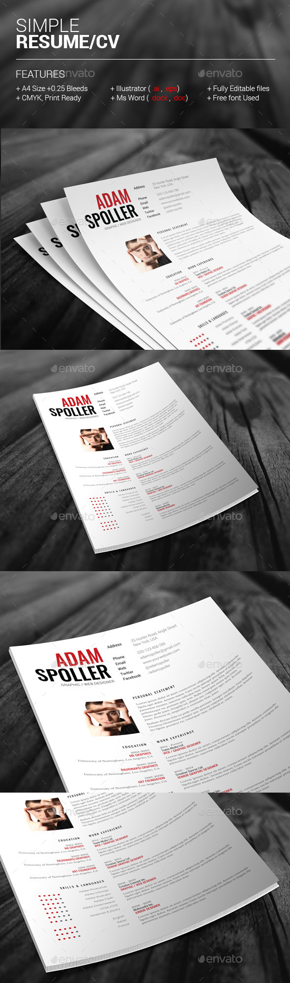 GraphicRiver Simple Resume CV 11209790