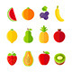 Organic Fresh Fruits and Berries Icons Set - GraphicRiver Item for Sale