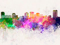 Norfolk skyline in watercolor background - PhotoDune Item for Sale