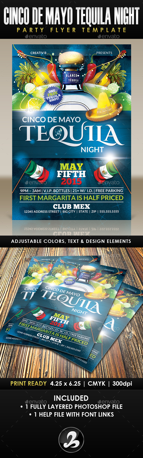 GraphicRiver Cinco De Mayo Tequila Night Party Flyer Template 11210270