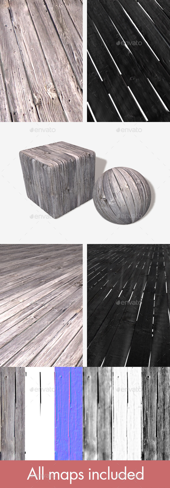 Broken Wooden Planks Seamless Texture - 3DOcean Item for Sale