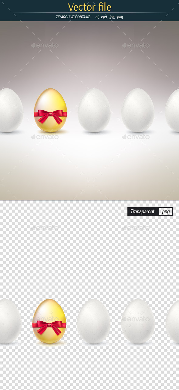 GraphicRiver Golden Egg with Bow in the Row of White Eggs 11211189