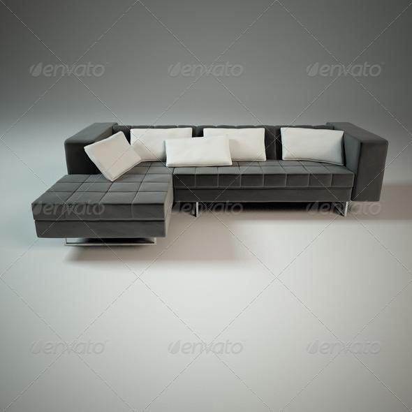 3 seats modern sofa with pillows - 3DOcean Item for Sale