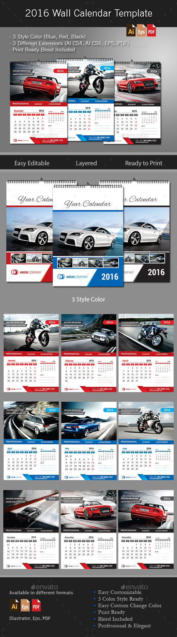 GraphicRiver 2016 Wall Calendar Template 11173526