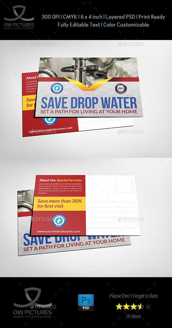 GraphicRiver Plumber Service Postcard Template 11211701