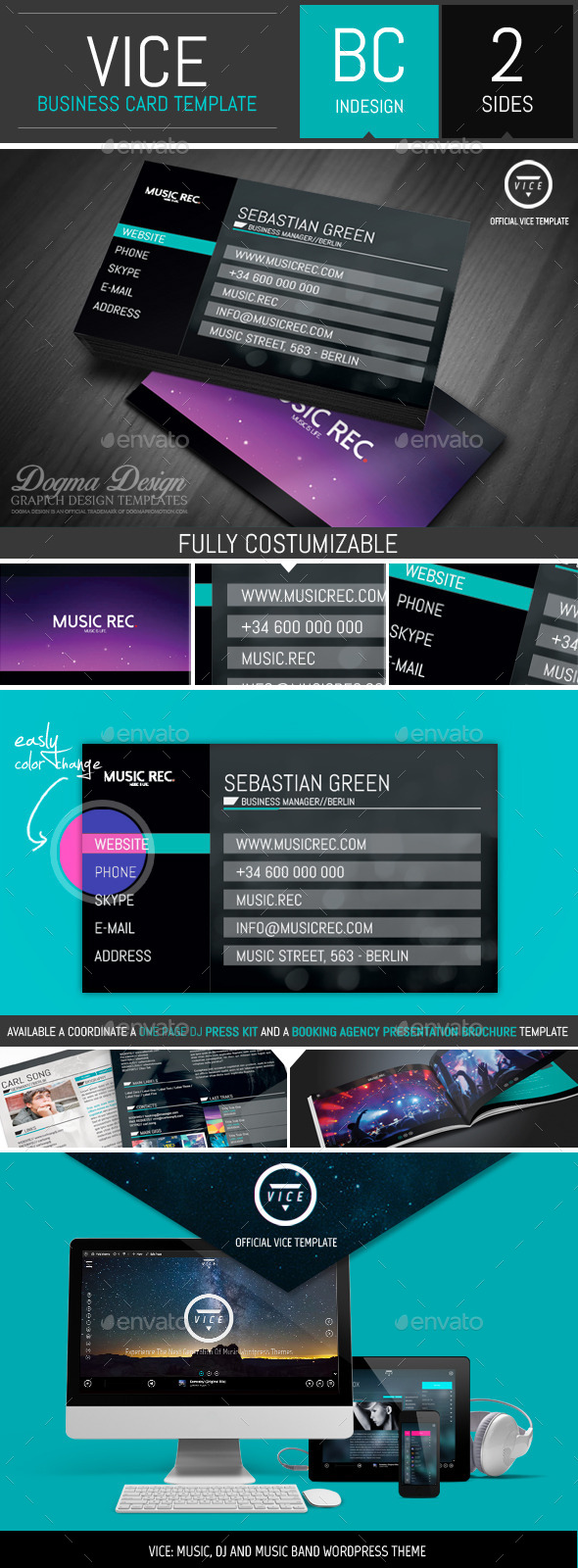 GraphicRiver VICE Dj Label and Agency Business Card Template 11211769
