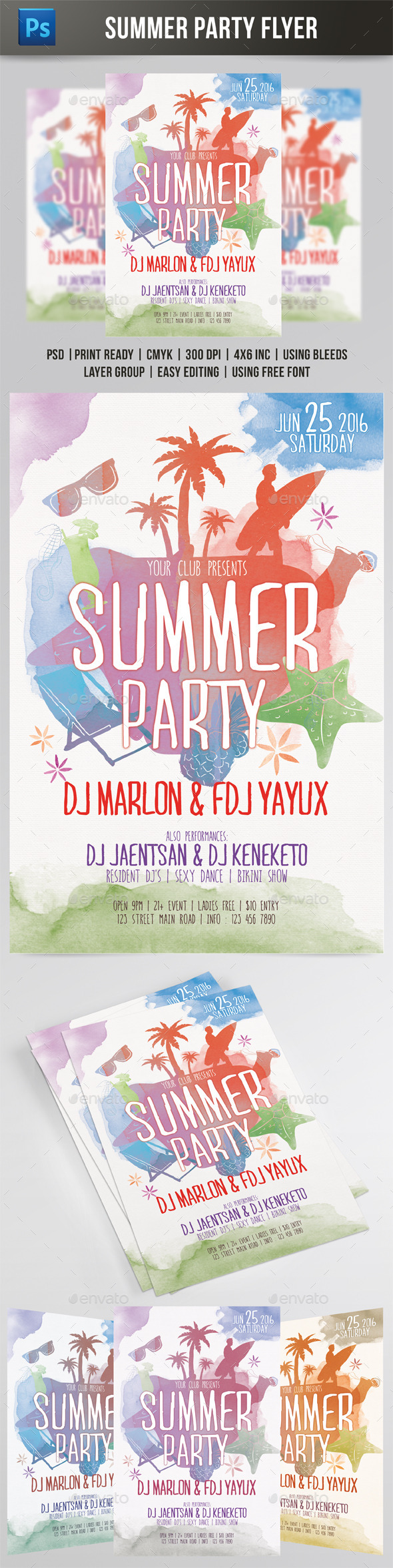GraphicRiver Summer Party Watercolor Style Flyer 11211996
