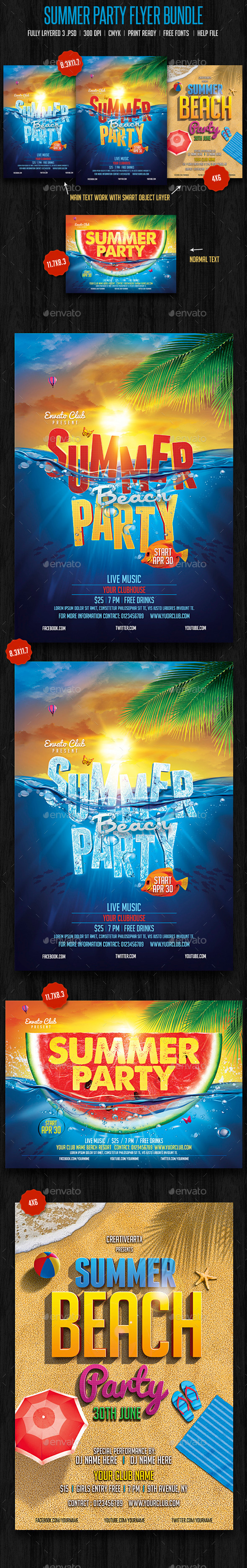 GraphicRiver Summer Beach Party Bundle 11212125