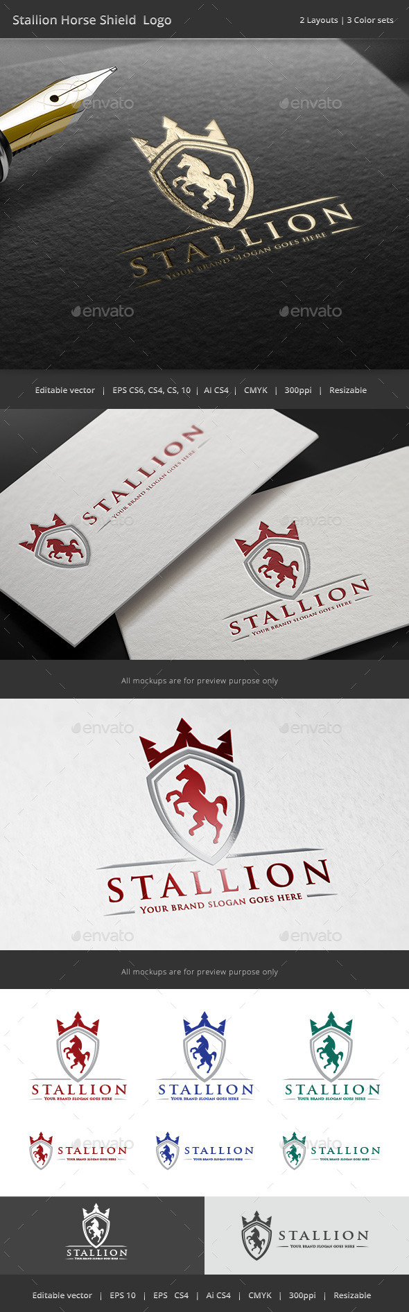 GraphicRiver Stallion Horse Shield Crest Logo 11212129