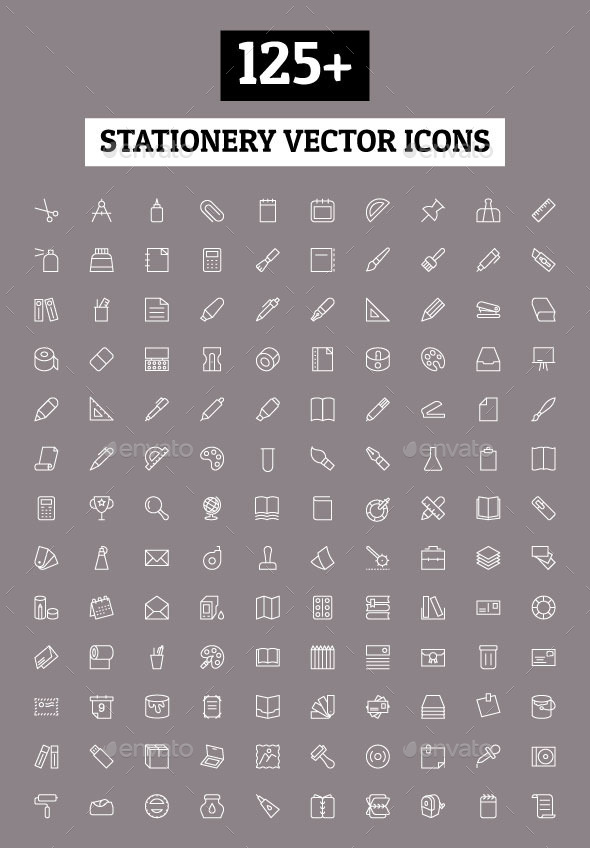 GraphicRiver 125& Stationery Vector Icons 11212210