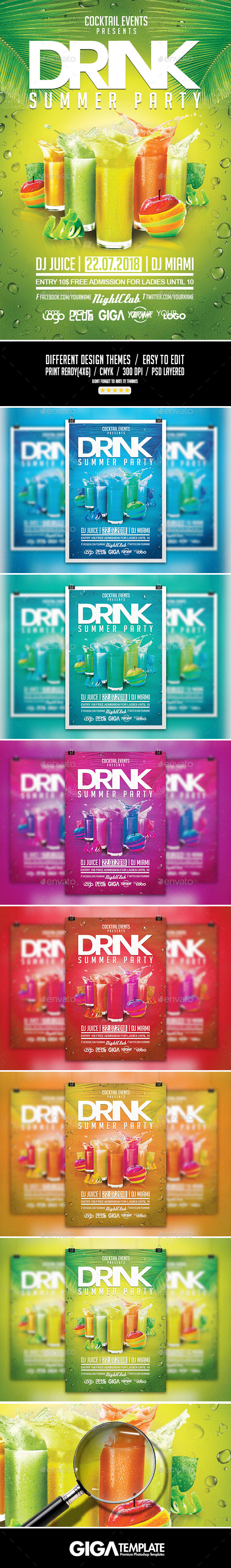 GraphicRiver Drink Summer Party VIP Night Flyer PSD Template 11212837