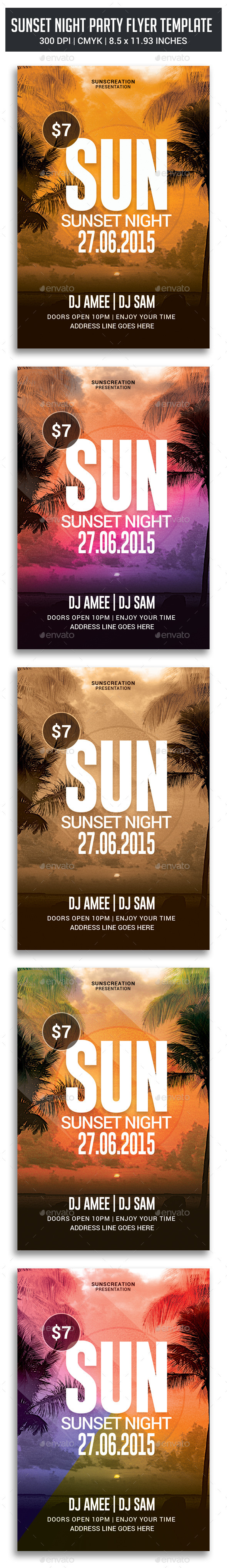 GraphicRiver Sunset Night Party Flyer 11212955