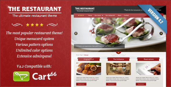 The Restaurant - Theme de Restaurantes con Comercio Electrónico para WordPress