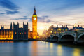 Big Ben clock tower in London at sunset - PhotoDune Item for Sale