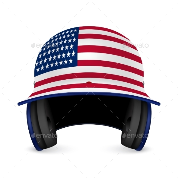 GraphicRiver Patriotic Baseball Helmet with US Flag 11213268
