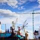 Shipyard. Ship under construction, repair. Industrial, transport. - PhotoDune Item for Sale