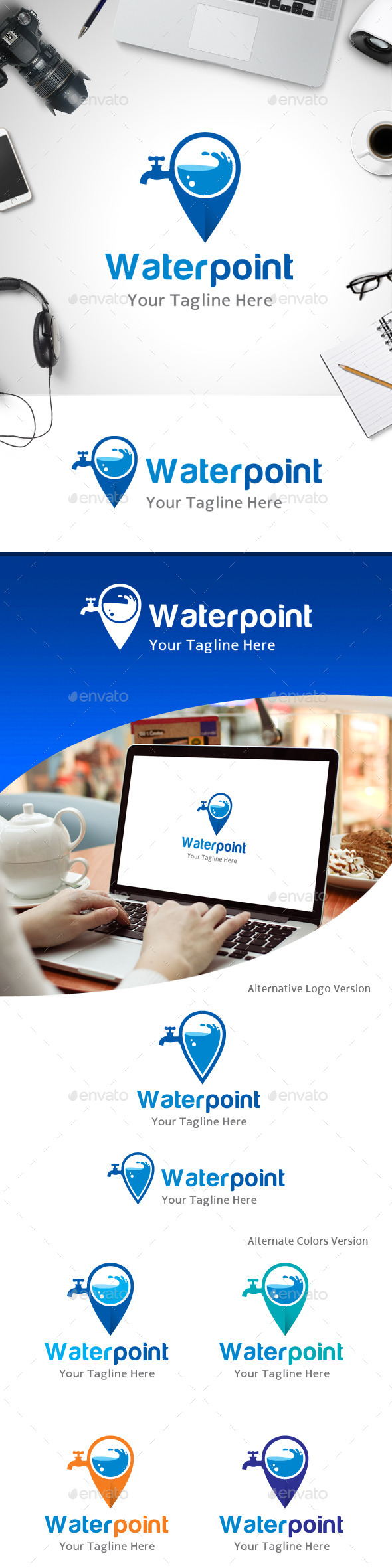 GraphicRiver Water Point Location Logo 11213515