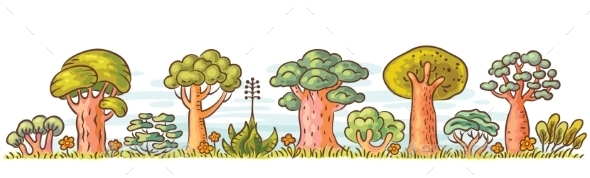 GraphicRiver Cartoon Trees in a Row 11213533