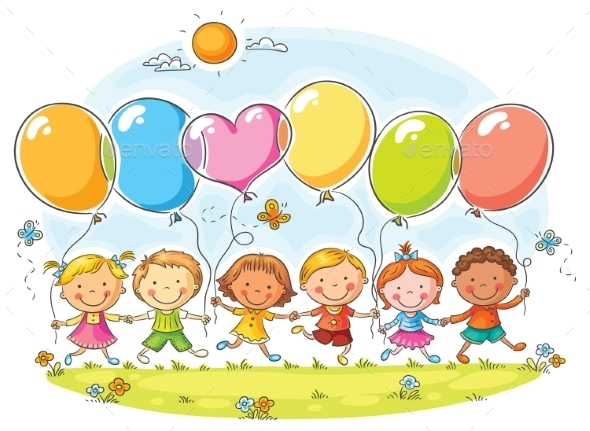 GraphicRiver Kids with Balloons 11213543