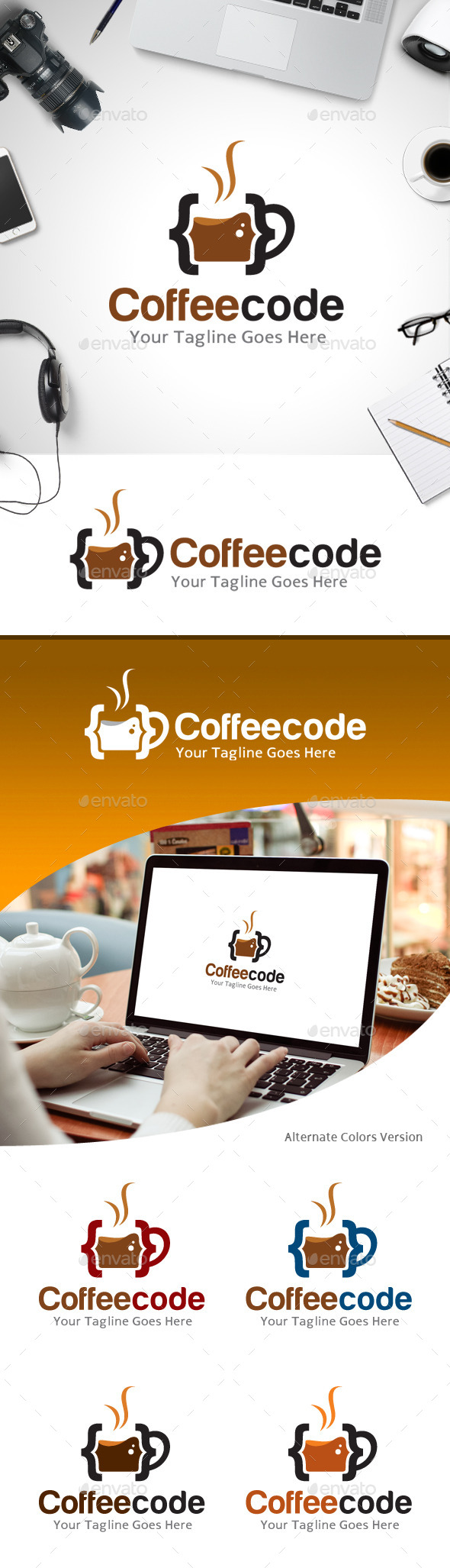 GraphicRiver Coffee Code Logo 11213734