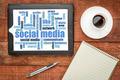 social media word cloud on digital tablet - PhotoDune Item for Sale