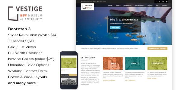 ThemeForest Vestige Museum Responsive HTML5 Template 11178778