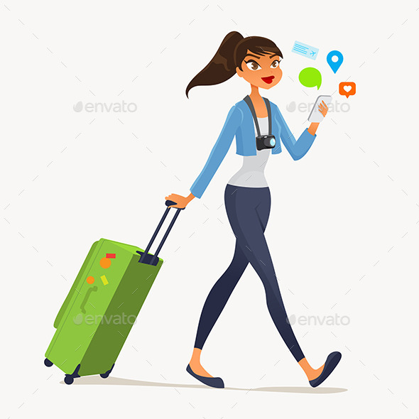 GraphicRiver Girl with a Suitcase 11214459