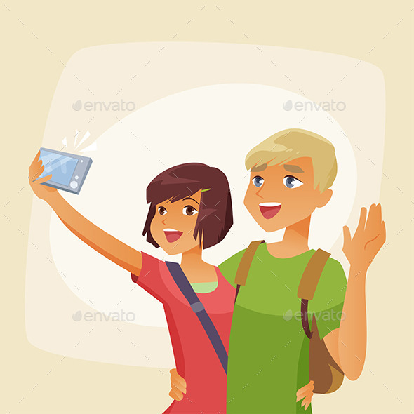 GraphicRiver Couple Photographing Selfie on Vacation 11214466